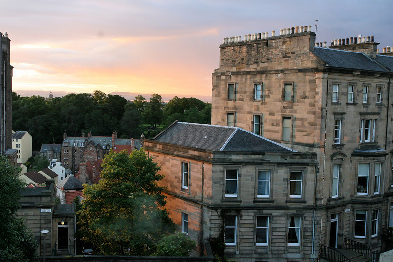 Sunset view from our hotel room in Edinburgh