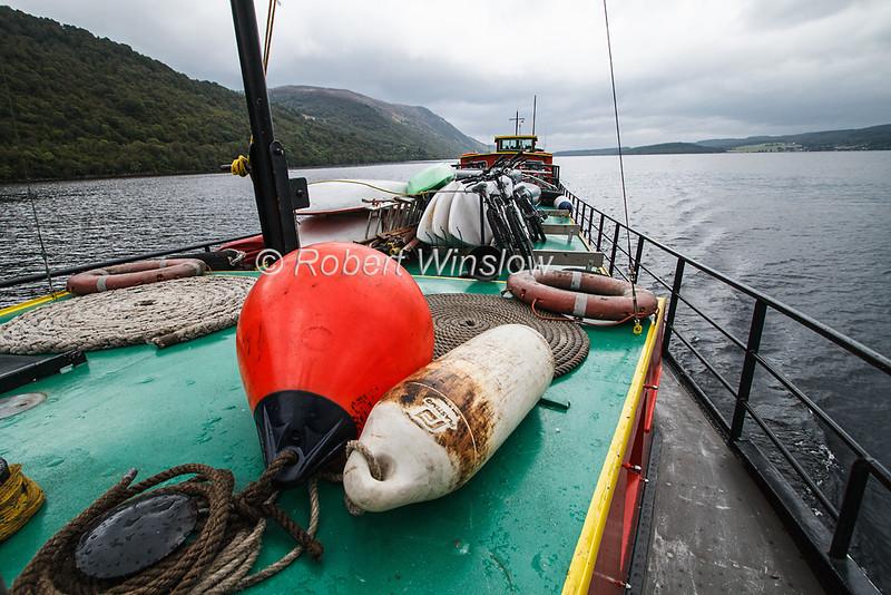 On Deck, Ros Crana Barge, Loch Ness, Scottish Highlands, Scotland, United Kingdom, Europe