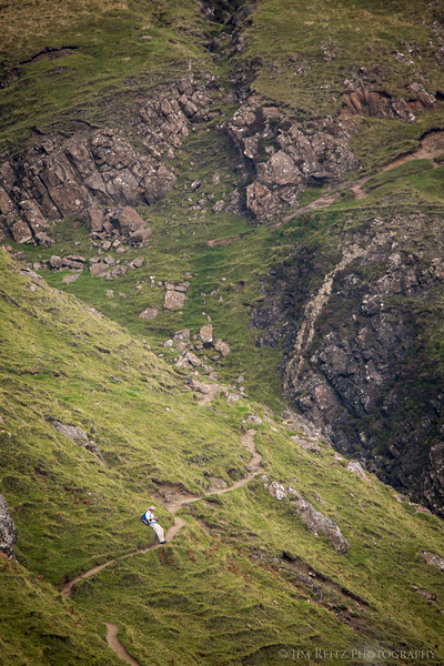 A fellow photographer hiking the trail into the Quirang, Isle of Skye, Scotland.