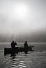 Canoeing, Ceann Loch, Morning, Mist, Caledonian Canal; Great Glen Way; Scottish Highlands, Scotland; United Kingdom, Europe