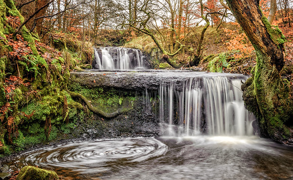 On the Branziet Burn <br /> The waterfalls above the main Linn of Baldernock falls