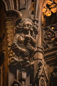 Angel playing bagpipe. St. Giles Cathedral in Edinburgh, Scotland.