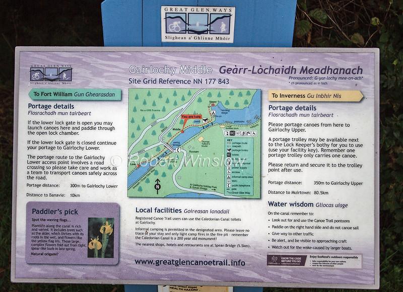 Sign, Map, Great Glen Cycle Canoe Trail, Caledonian Canal; Great Glen Way; Scottish Highlands, Scotland; United Kingdom, Europe