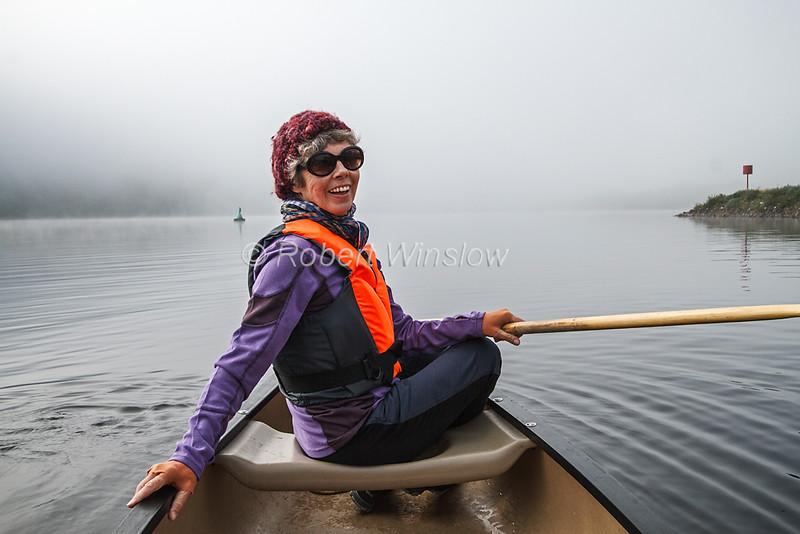 Marilyn, Model Released, Canoeing, Ceann Loch, Morning, Mist, Caledonian Canal; Great Glen Way; Scottish Highlands, Scotland; United Kingdom, Europe