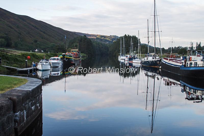 Ros Crana Barge, Other Boats,  Laggan Locks, Caledonian Canal; Great Glen Way; Scottish Highlands, Scotland; United Kingdom, Europe