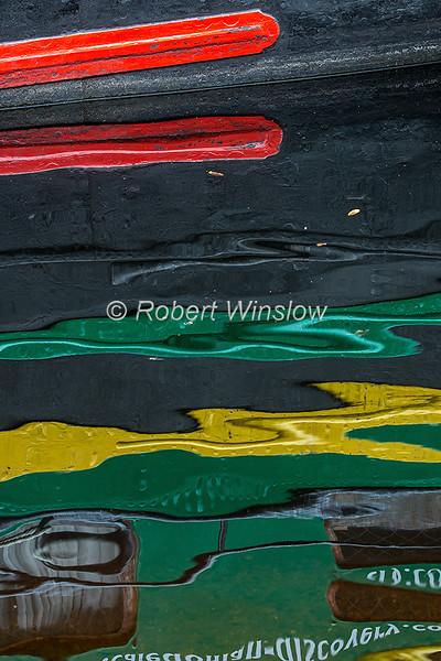 Reflection, Ros Crana Barge,  Loch Ness, Scottish Highlands, Great Glen Way, Caledonian Canal, Scotland, United Kingdom, Europe