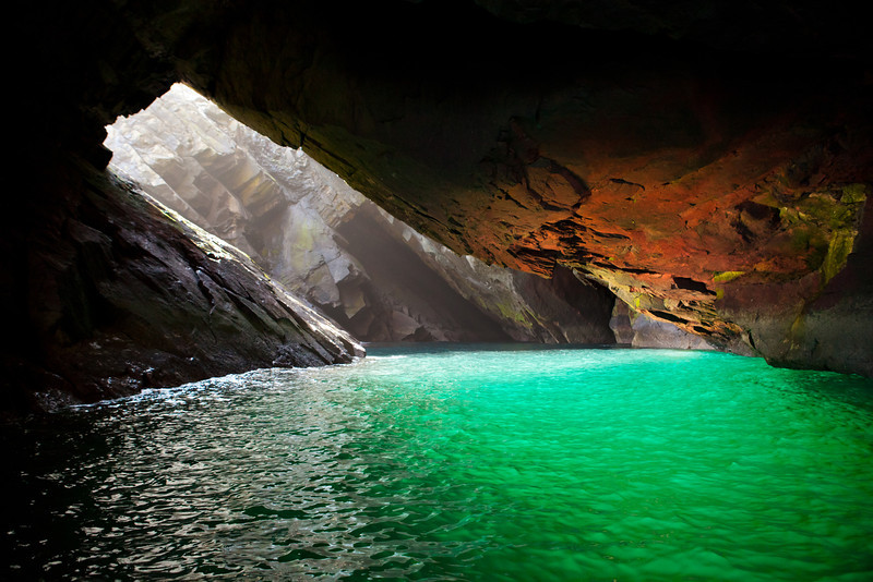Exploring a cave at St. Kilda