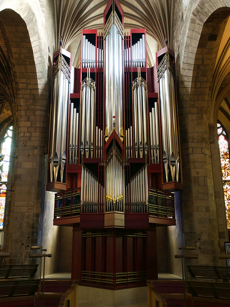 The organ pipes in St. Giles Cathedral