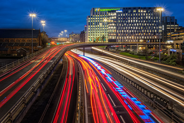 Rush hour on the M8 Motorway through Glasgow City Centre