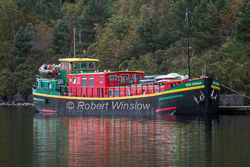 Ros Crana Barge, Loch Ness, Scottish Highlands, Great Glen Way, Caledonian Canal, Scotland, United Kingdom, Europe
