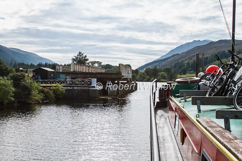Laggan Swinging Bridge, On Board Ros Crana Barge,  Caledonian Canal; Great Glen Way; Scottish Highlands, Scotland; United Kingdom, Europe