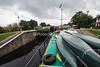 Ros Crana Barge Entering a Lock, Caledonian Canal; Scottish Highlands, Great Glen, Scotland, United Kingdom, Europe