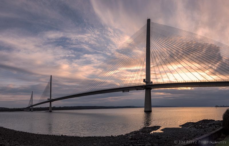 The graceful new Queensferry Crossing bridge near Edinburgh, Scotland. Newest of three adjacent bridges over the Firth of Forth (the oldest being the 1890 Forth Railroad Bridge), it was inaugurated by Queen Elizabeth in 2017.