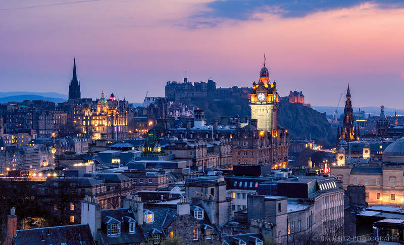 Sunset view of Edinburgh, Scotland.