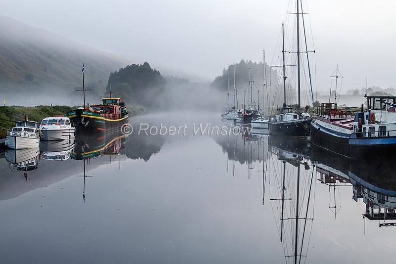 Laggan Locks, Morning, Mist, Caledonian Canal; Great Glen Way; Scottish Highlands, Scotland; United Kingdom, Europe