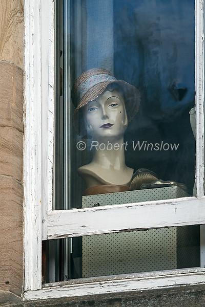 Head in a Window,  Dunkeld, Scotland, United Kingdom, Europe