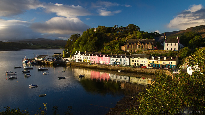The beautiful harbor town of Portree on the Isle of Skye, Scotland.