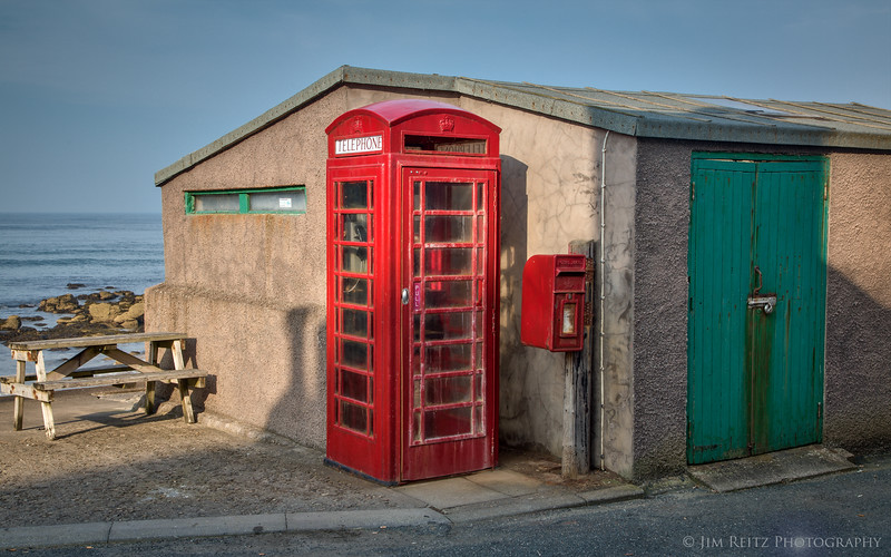 "The iconic red phone booth in Pennan, Scotland - as featured in the movie ""Local Hero""."