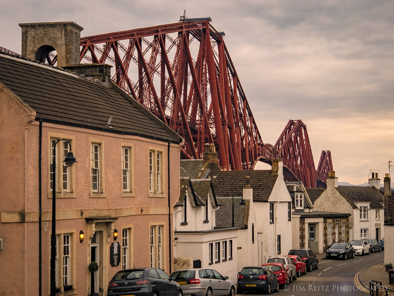 Buildings underneath the 1890 railroad bridge across the Firth of Forth.