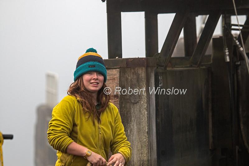 Lucy, Ros Crana Barge, Laggan Locks, Morning, Mist, Caledonian Canal; Great Glen Way; Scottish Highlands, Scotland; United Kingdom, Europe