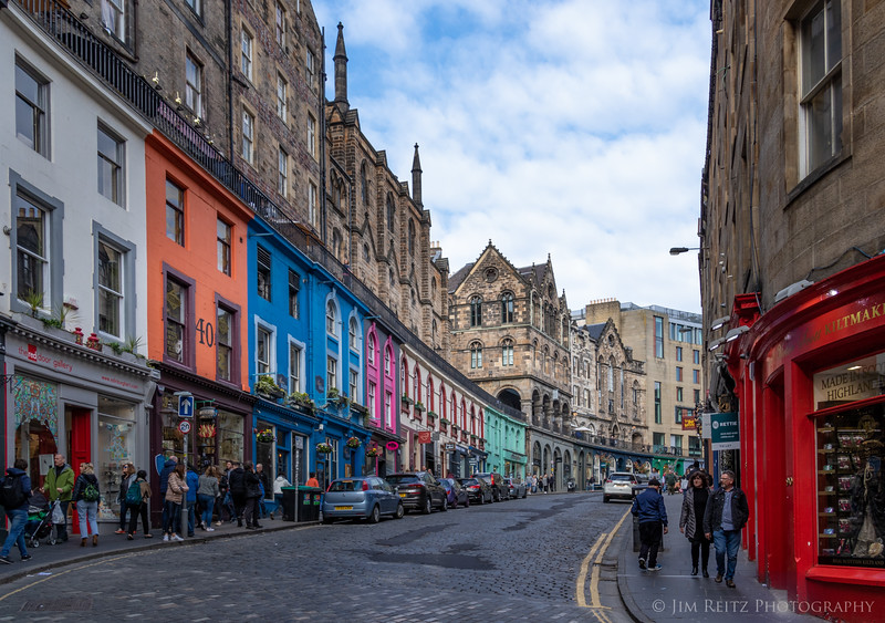 Colorful streets in Edinburgh.