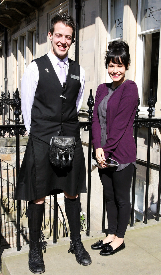 Our hotel in Edinburgh with Ian, our awesome and Scottish bellman
