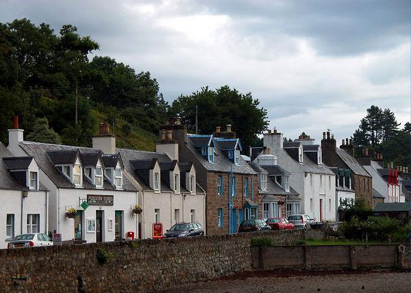 Village of Plockton at low tide.