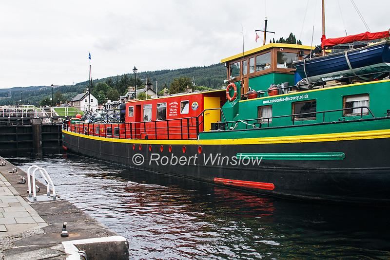 Ros Crana Barge in Locks at Fort Augustus, Caledonian Canal; Great Glen Way; Scottish Highlands, Scotland; United Kingdom, Europe
