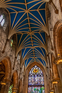Main sanctuary ceiling & stained glass - St. Giles' Cathedral in Edinburgh, Scotland