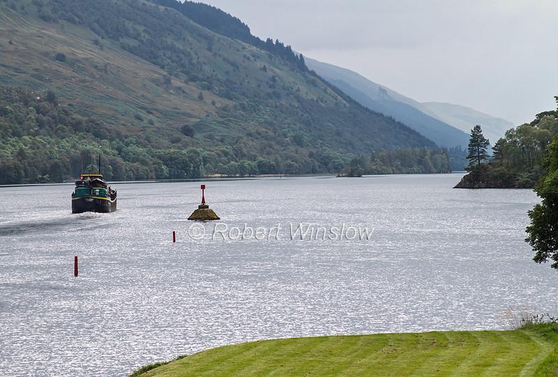 Ros Crana Barge, Loch Oich, Caledonian Canal; Great Glen Way; Scottish Highlands, Scotland;  United Kingdom, Europe