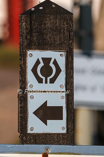 Sign, The Great Glen Way, Caledonian Canal; Scottish Highlands, Scotland; United Kingdom, Europe