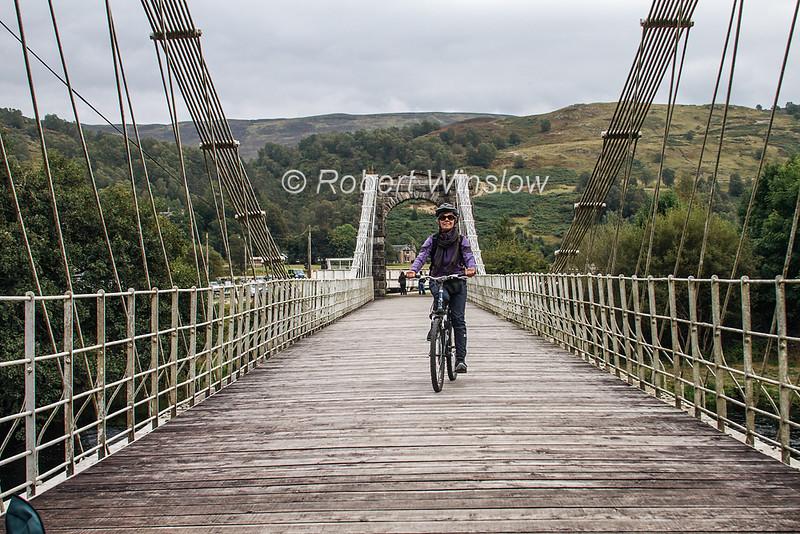 MR, Marilyn Bicycling on Bridge Of Oich, Invergarry, Caledonian Canal; Great Glen Way; Scottish Highlands, Scotland; United Kingdom, Europe