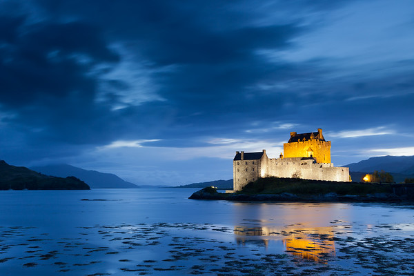 Eilean Donan Castle at twilight, Scotland,  UK, 2011