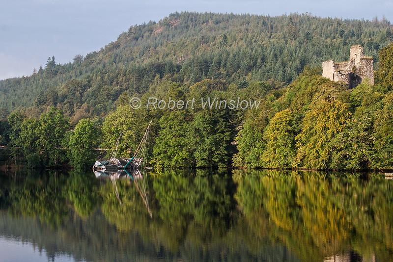 Invergarry Castle, Loch Oich, Caledonian Canal; Great Glen Way; Scottish Highlands, Scotland; United Kingdom, Europe