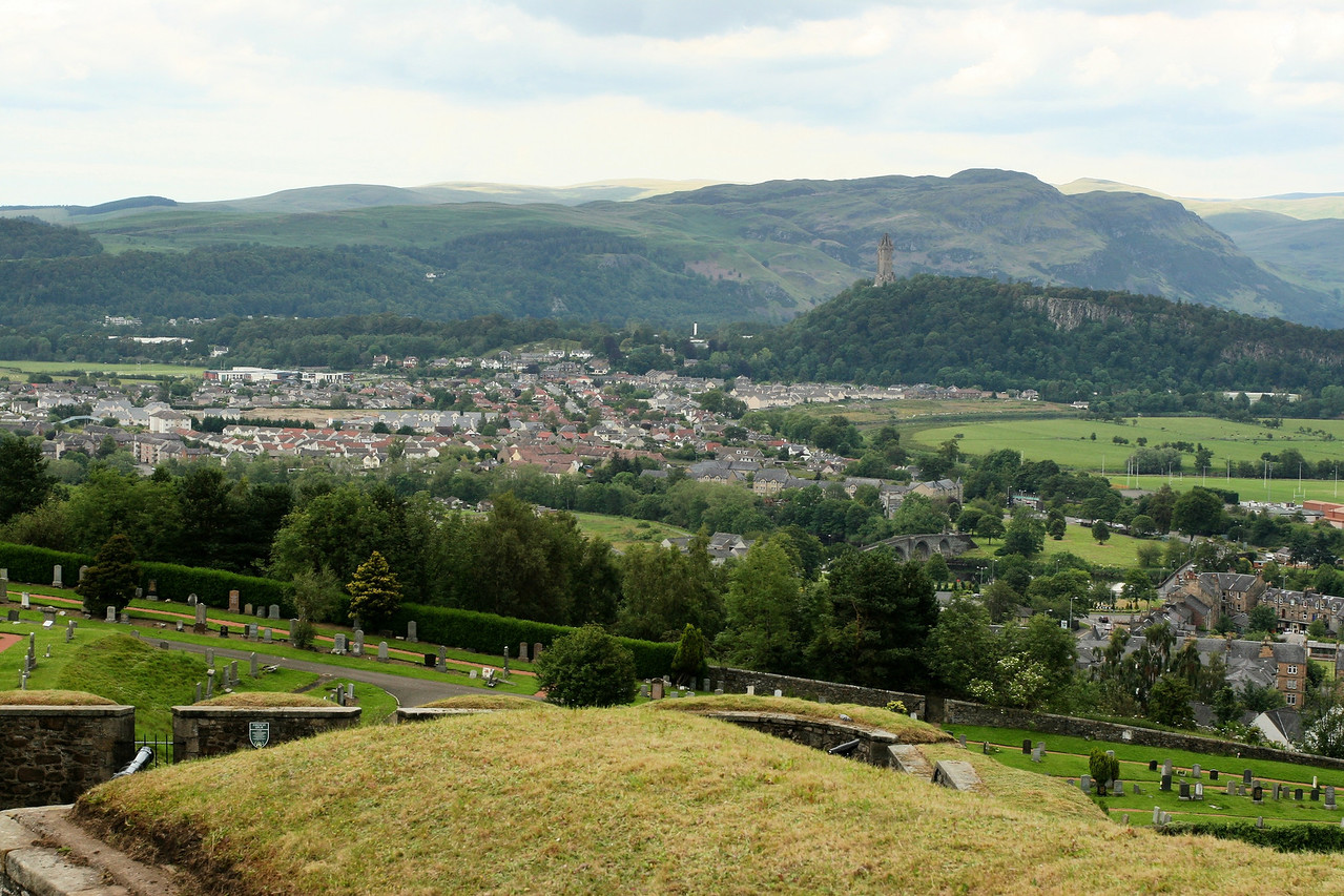 View from Stirling Castle.  That's the William Wallace monument in the far distance.