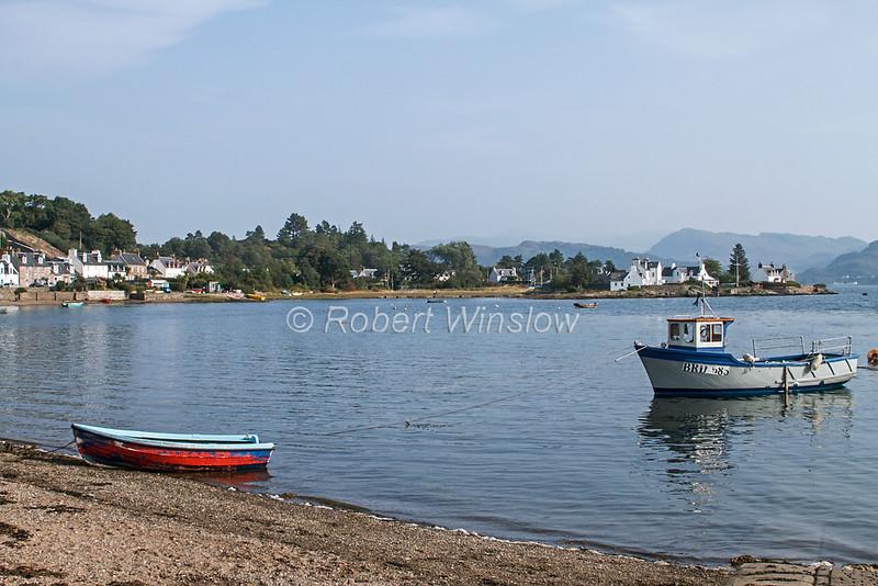Boats, Village of Plockton, Loch Carron, Sea Loch, Scottish Highlands, Scotland; United Kingdom, Europe