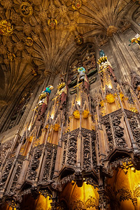 Intricate carved ceiling of the Thistle Chapel - St. Giles' Cathedral in Edinburgh, Scotland.