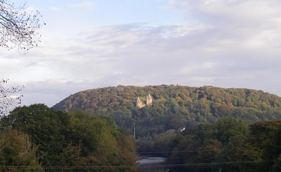 A view of Castle Coch from the highway as you approach the office