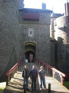 Scott, Bruce, Ben on the drawbridge at Castle Coch.