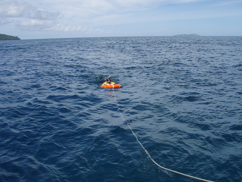 We told Kris not to swim to far from the boat.