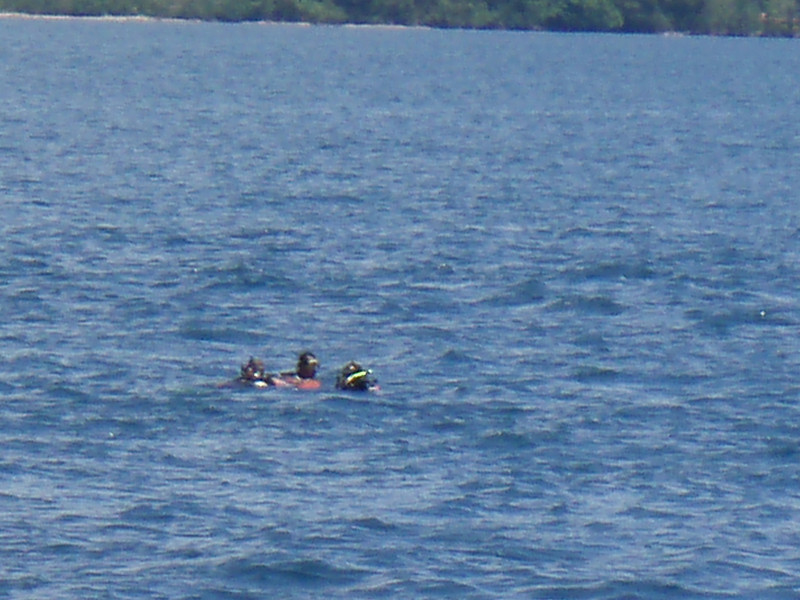 These two, Darren and Jacquie, surfaced a good distance from the boat. Hey what happened?