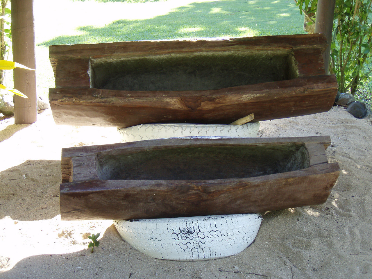 The drum logs which were played to signal meal times and events.
