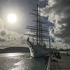 Our first look at Sea Cloud at the dock in Antigua.  She was much bigger than we imagined, 316 feet long at the waterline, with a 50 foot beam.