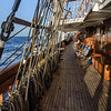 """A 4 masted square rigger is a maze of lines and ladders off the main (Promenade) deck. The Sea Cloud is referred to as """"hand sailed"""" to distnguish her from modern """"push button"""" mechanically controlled square rigged sailing ships."""