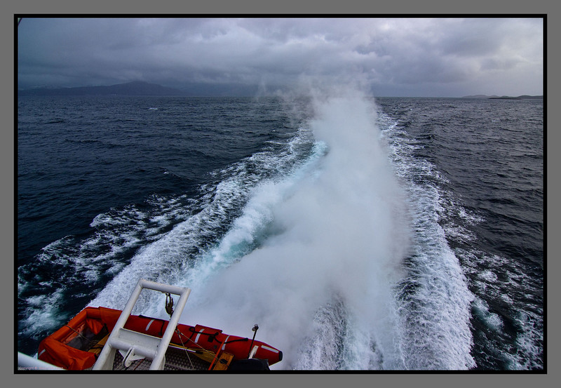 Smoke in the wake<br /> Waters north of Bodø