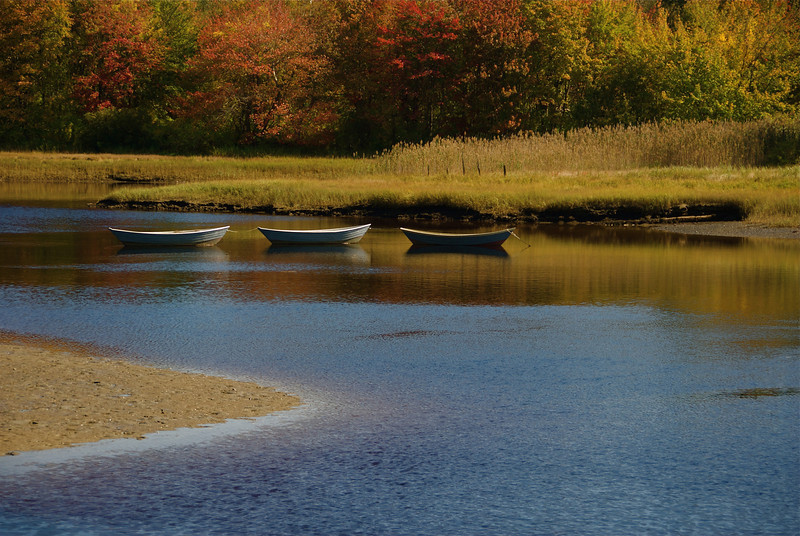Three dinghies, Kennebunkport Maine