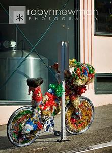 A tinsel bike near Pike Market in Seattle, WA