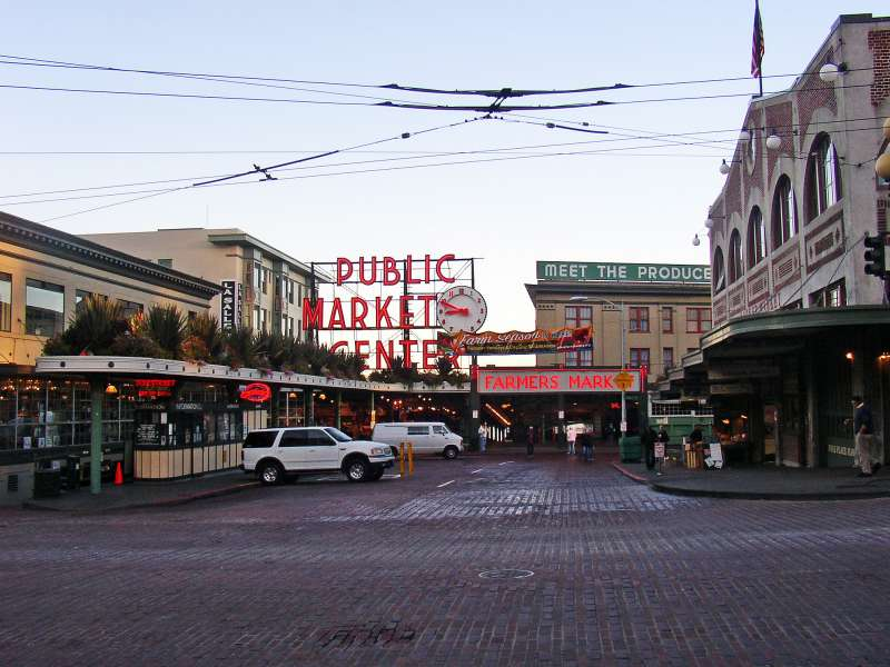 "Here's the Pikes Market.  One of the most famous landmarks in Seattle.<br /> <br /> They ""throw the fish"" here."