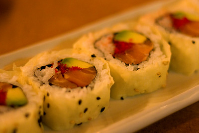 Cly tried this SA-Boom sushi roll - it included tobiko eggs marinaded in habanero sauce.