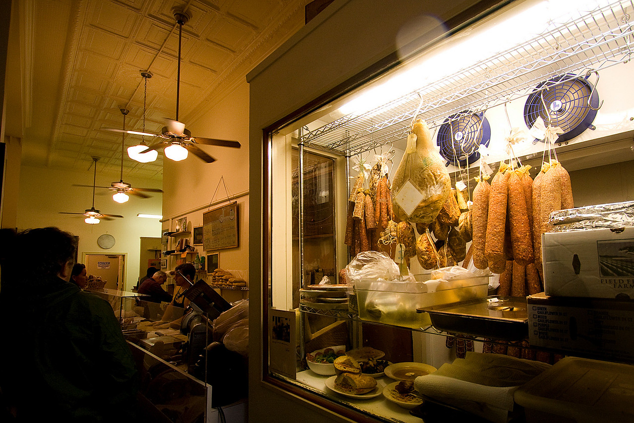 Salumi was very tiny and packed!  You can see Mr. Batali in the back.